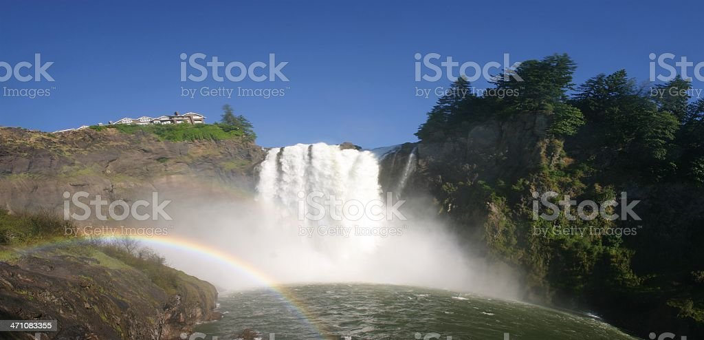 Snoqualmie Falls - Curved Earth Panorama stock photo