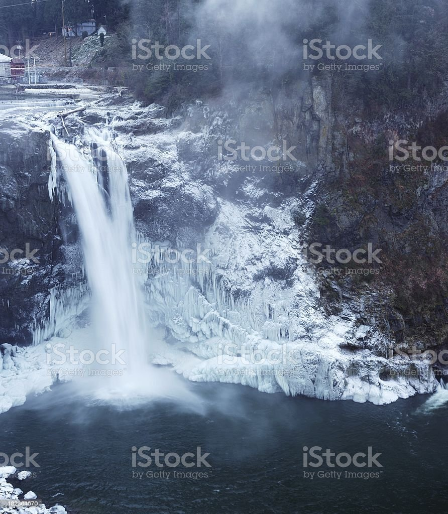 Snoqualmie Falls Frozen Vertcal Panorama stock photo