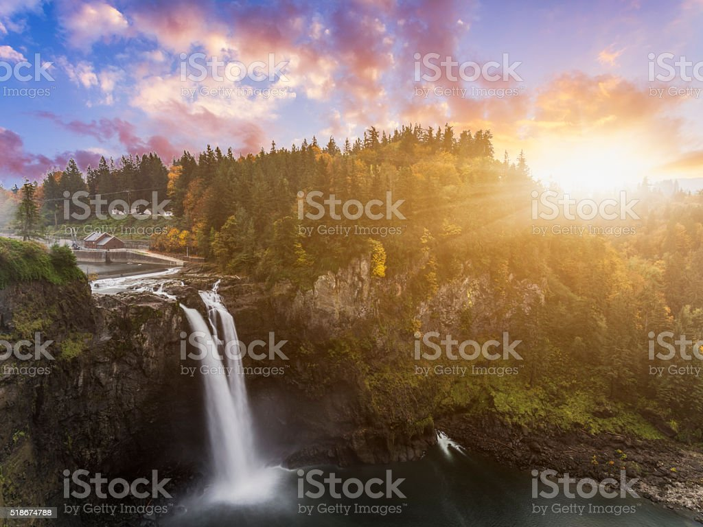 Snoqualmie Falls in fall stock photo