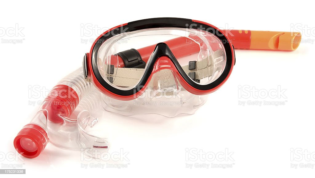 Snorkel and mask isolated on a white background stock photo