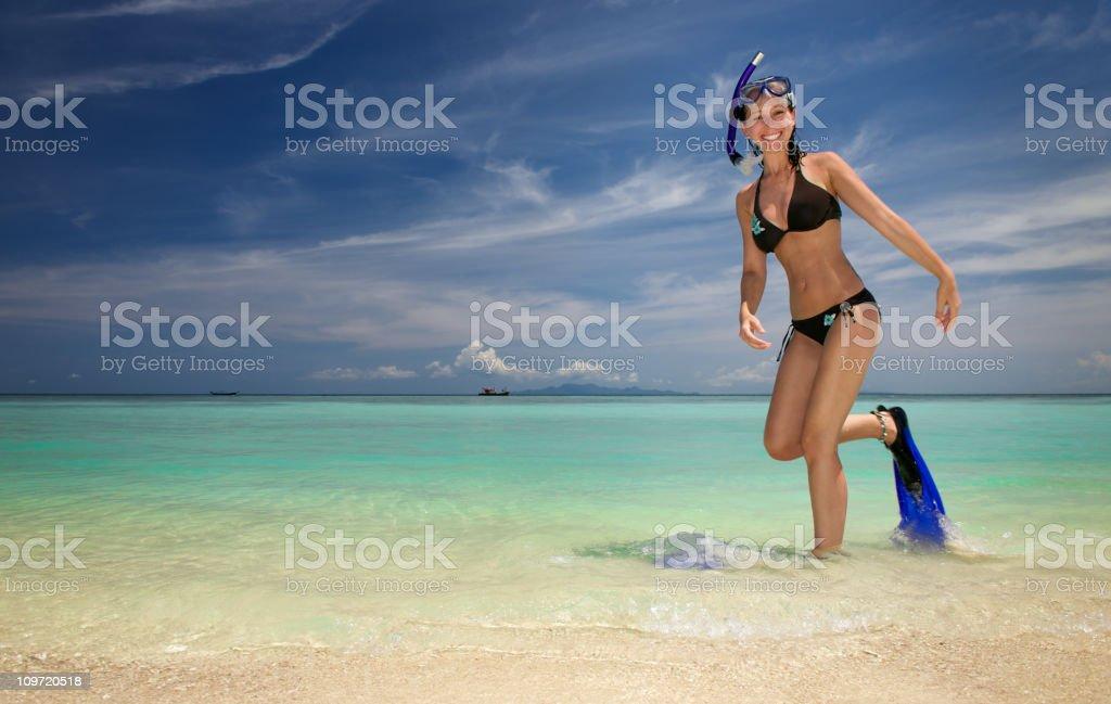 Snorkeling and Enjoying Holidays at the Beach (XXXL) royalty-free stock photo