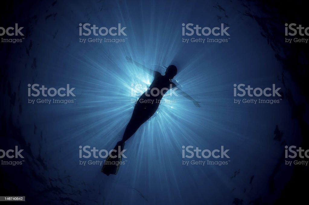 snorkeling angel royalty-free stock photo