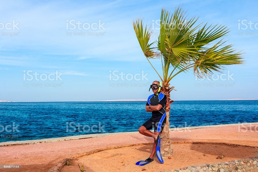 Snorkeling at Red Sea, Egypt stock photo