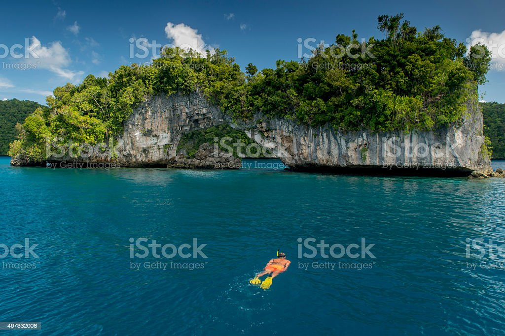 Snorkeling at the Rock Islands Arch stock photo