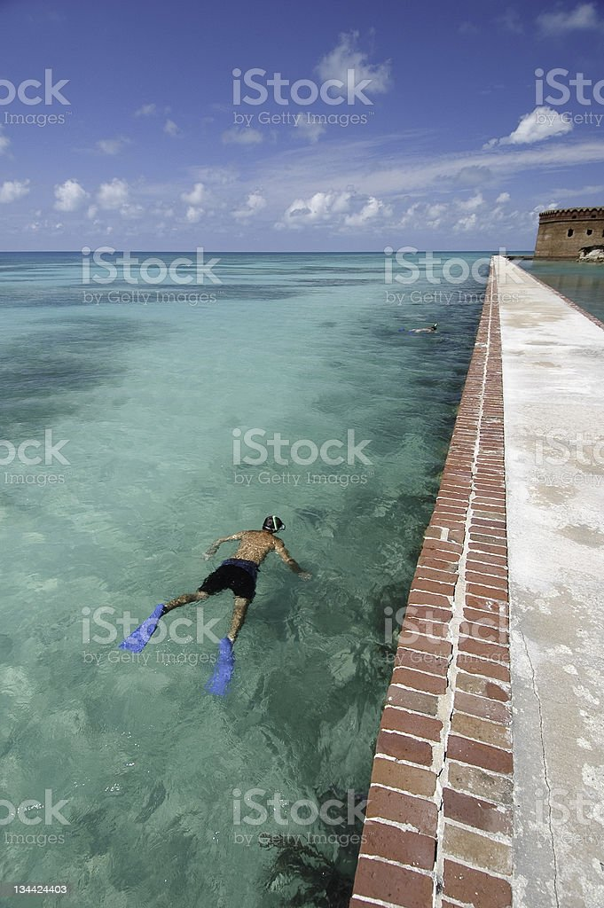 Snorkeling in Crystal Clear Water stock photo