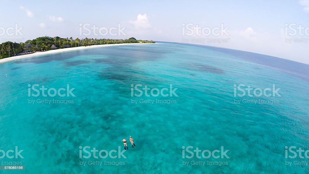 Snorkeling in Indian Ocean, Maldives Kuredu stock photo