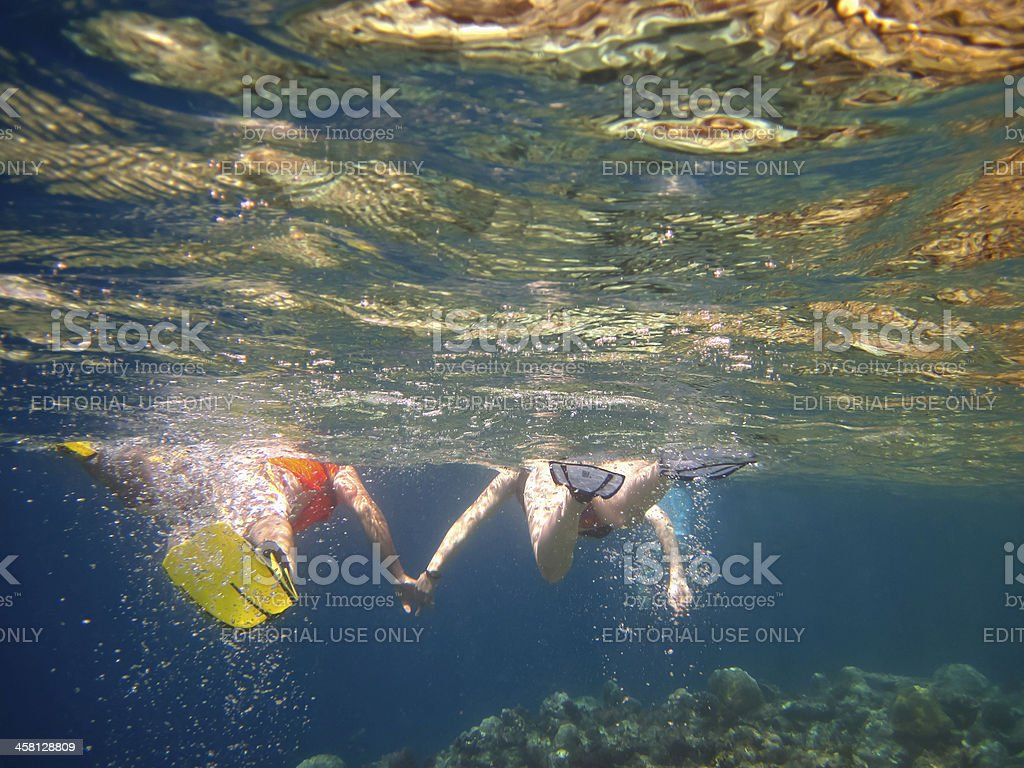 Snorkeling in pristine water royalty-free stock photo