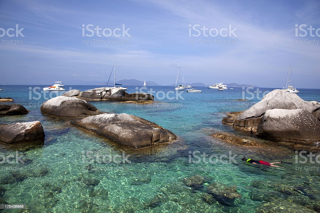 Snorkeling in the Virgin Islands stock photo