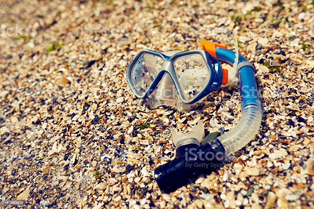 snorkeling mask stock photo