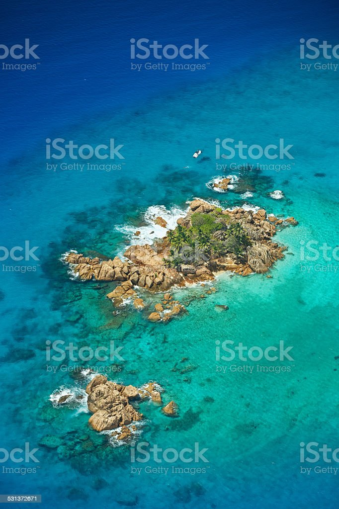 Snorkelling in the Seychelles stock photo