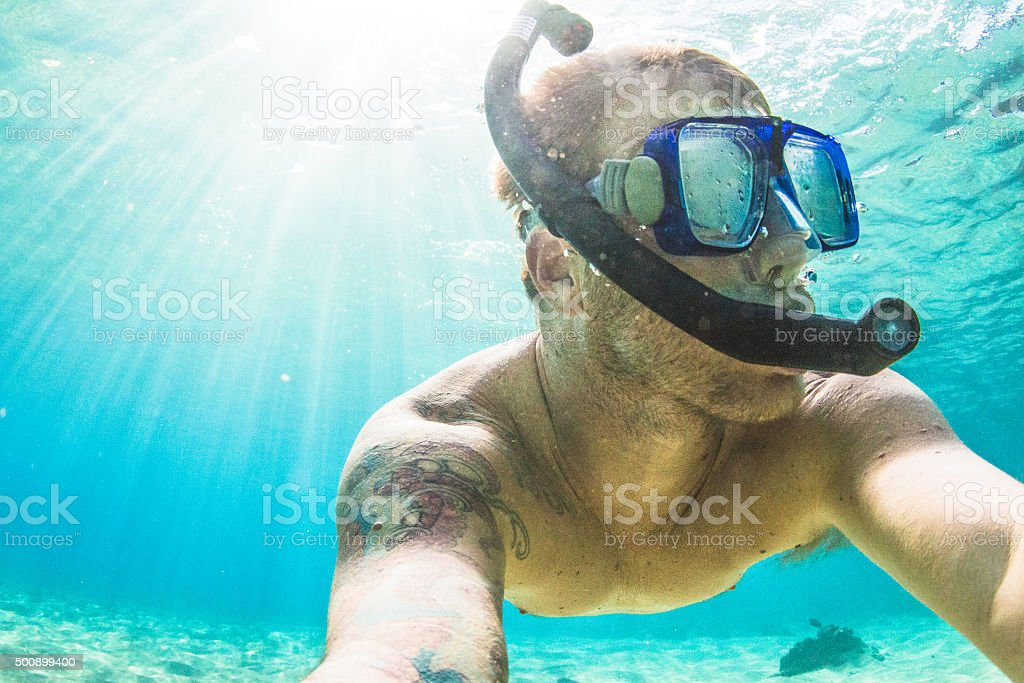 snorkling stock photo
