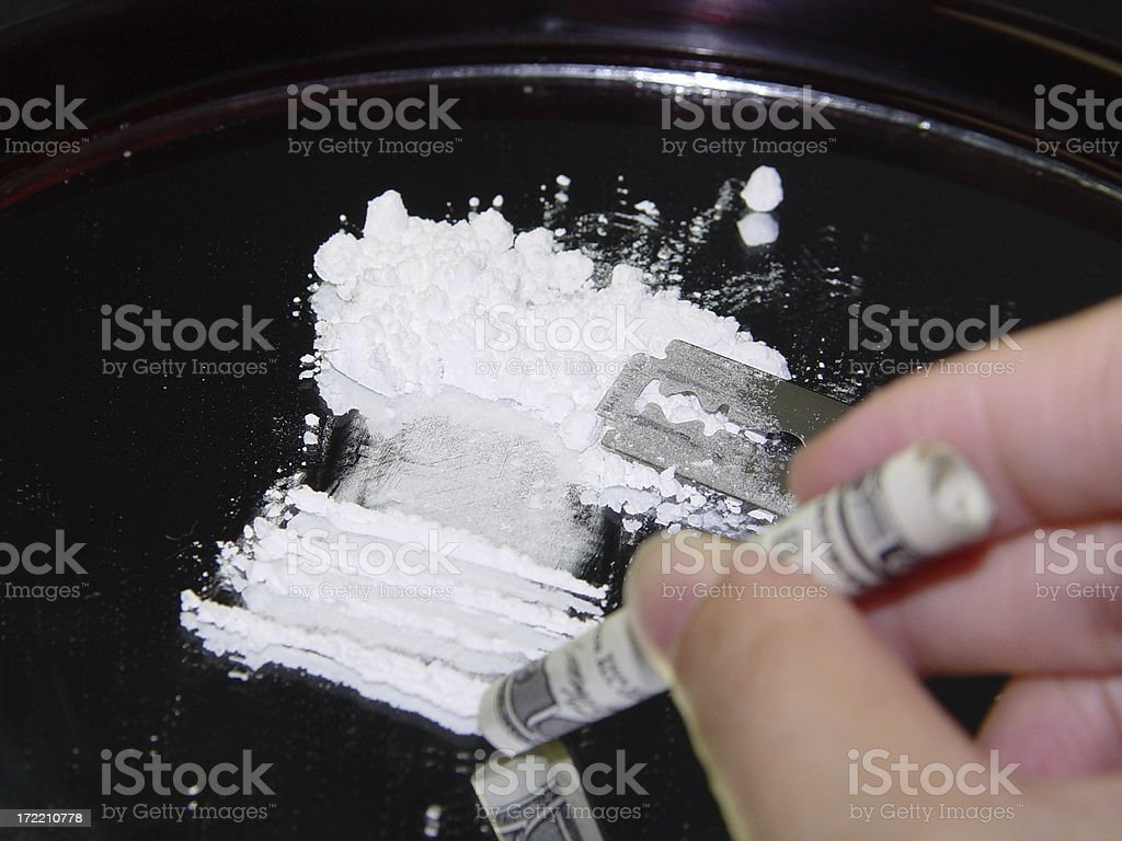 Snorting Cocaine Illegal Drugs Narcotics royalty-free stock photo