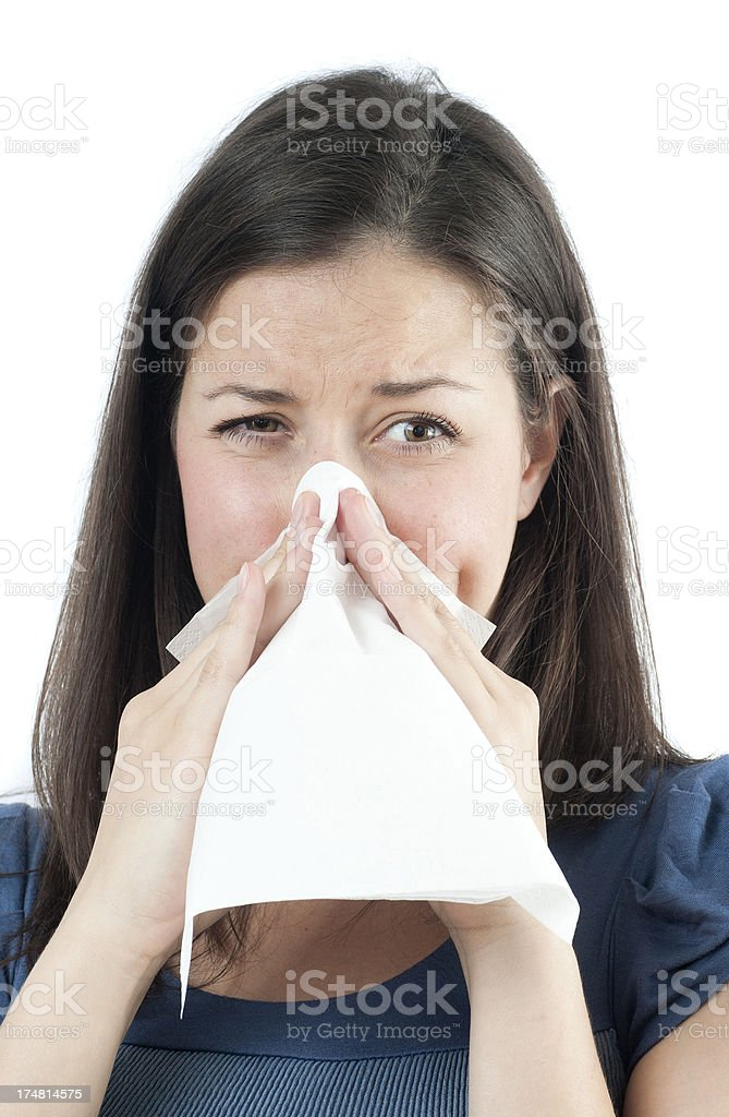 snorting while allergy or cold royalty-free stock photo