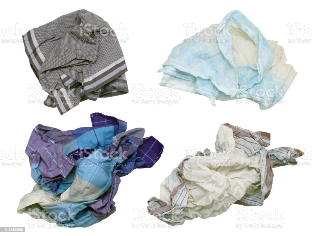 Snotty dirty men's handkerchiefs - winter, this most  time concept. Isolated on white set stock photo