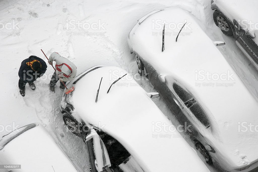 snow and cars royalty-free stock photo