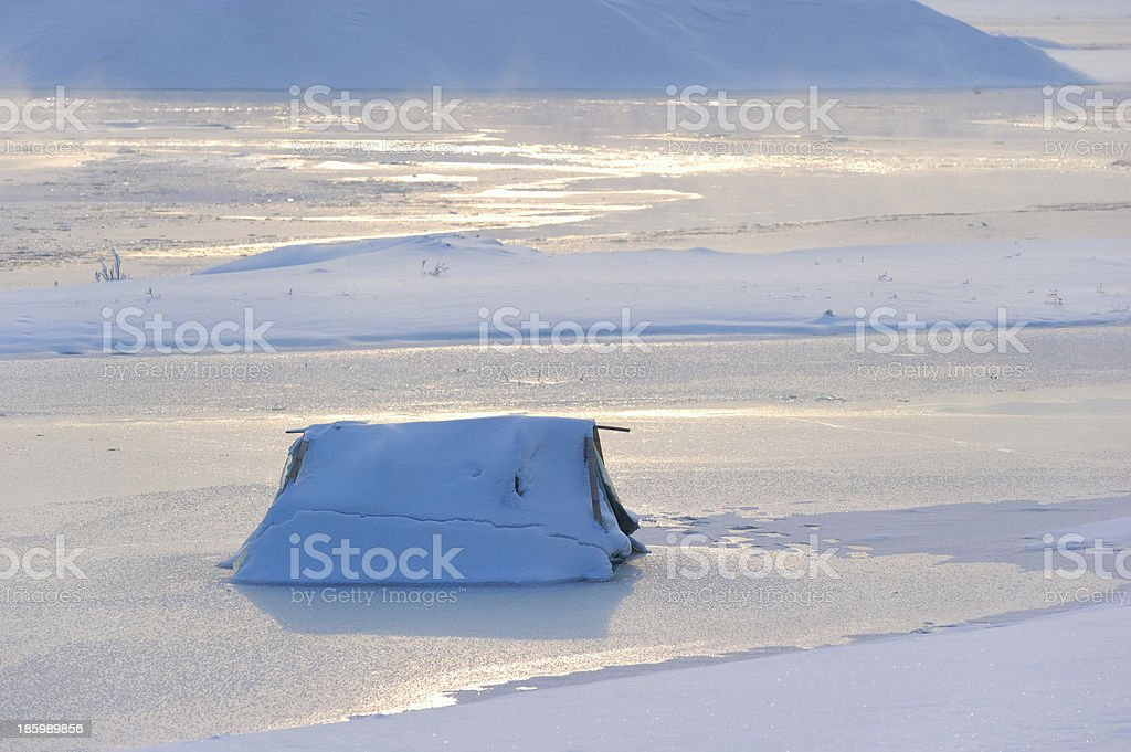 Snow and ice scene in winter stock photo