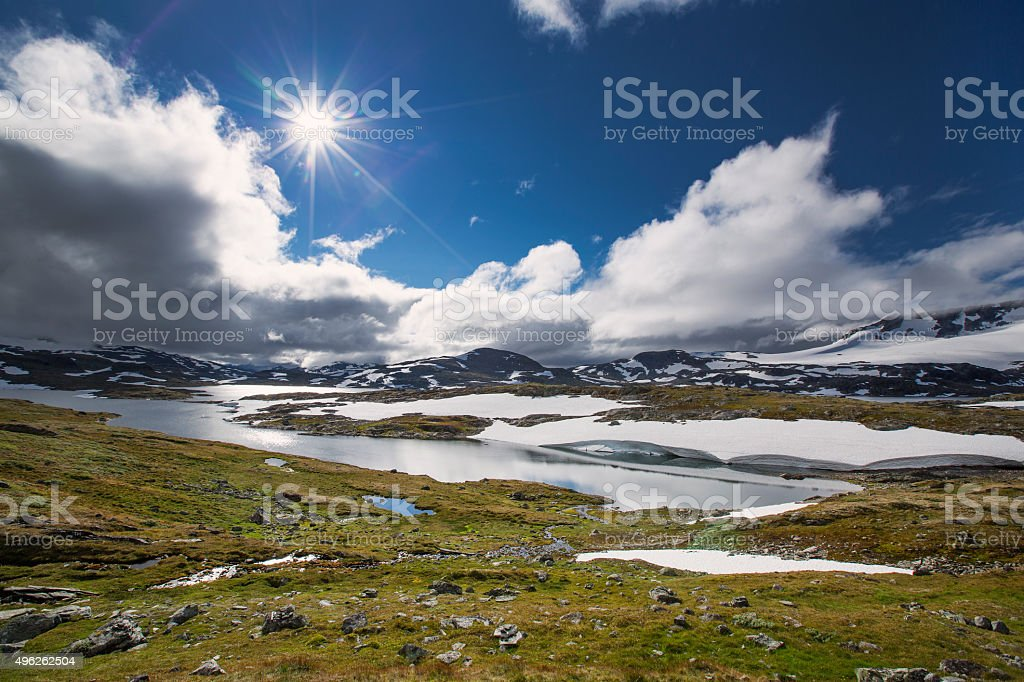 Snow and lake in Jotunheimen national park stock photo