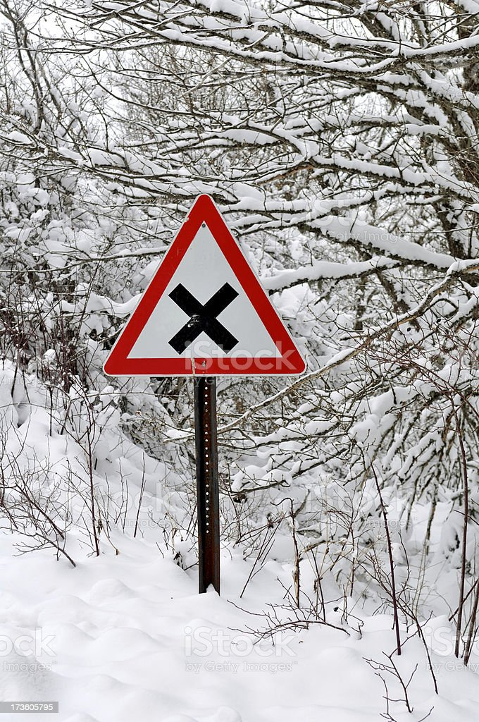 snow and traffic sign royalty-free stock photo