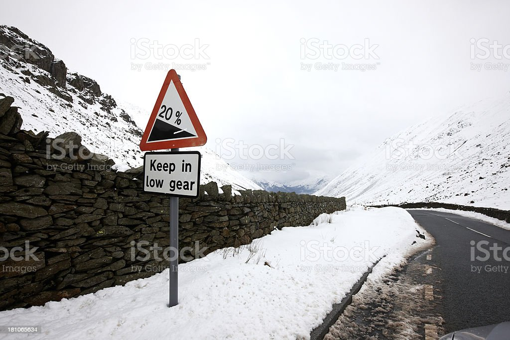 Snow and warning sign on Kirkstone Pass in Lake District stock photo
