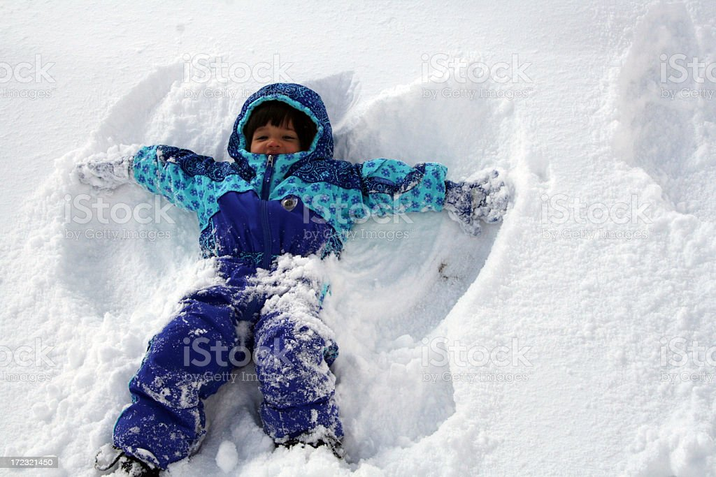 Snow Angel Fun stock photo