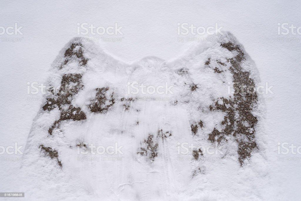 Snow angel on a rock stock photo