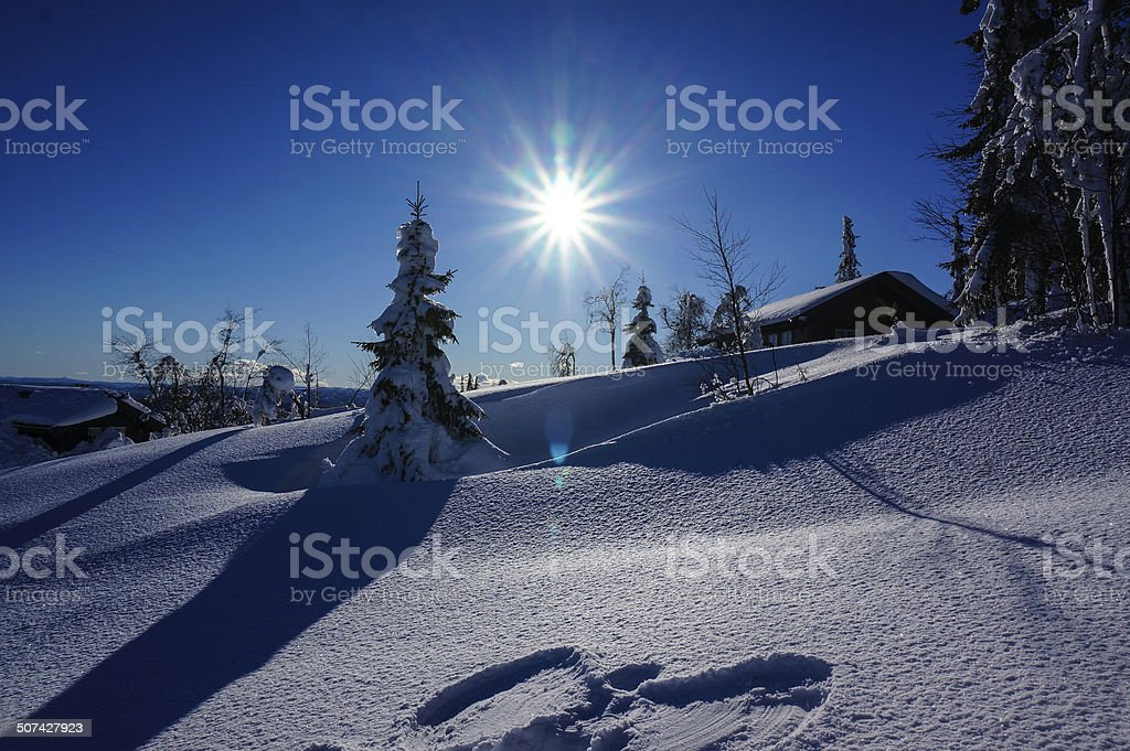 Snow angel on sunny winter day royalty-free stock photo