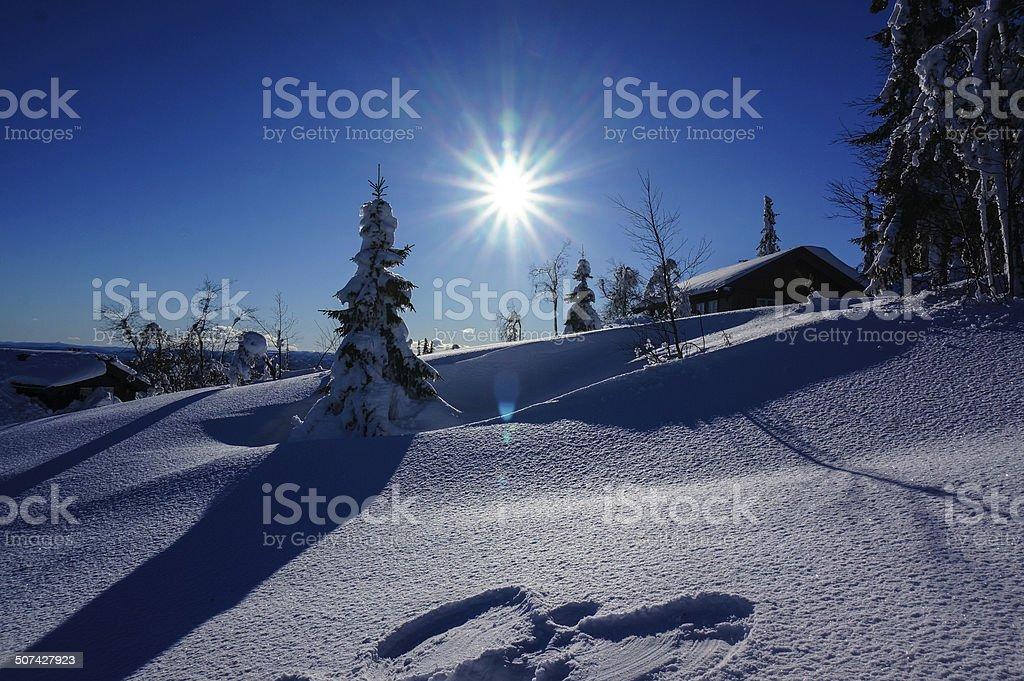 Snow angel on sunny winter day stock photo