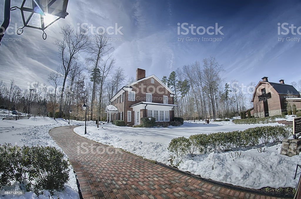 snow around billy graham library after winter storm royalty-free stock photo