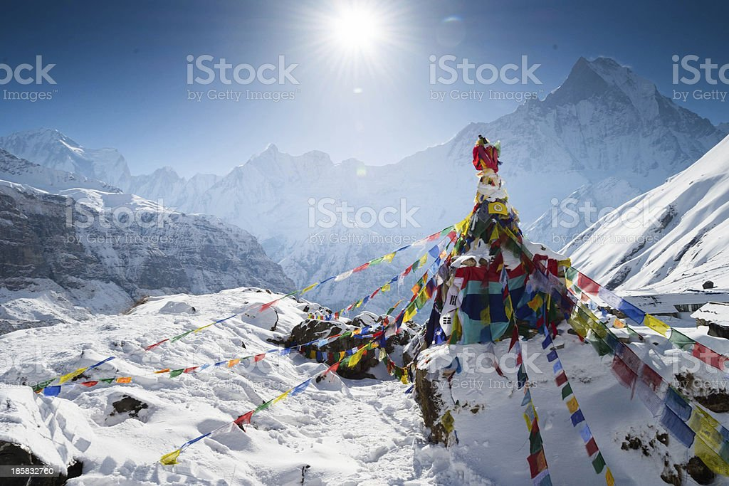 Snow at Annapurna base camp stock photo