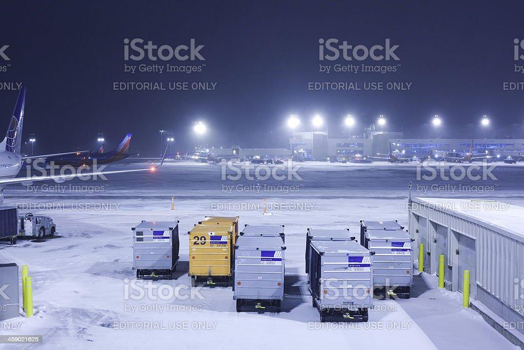 Snow at Denver International Airport royalty-free stock photo