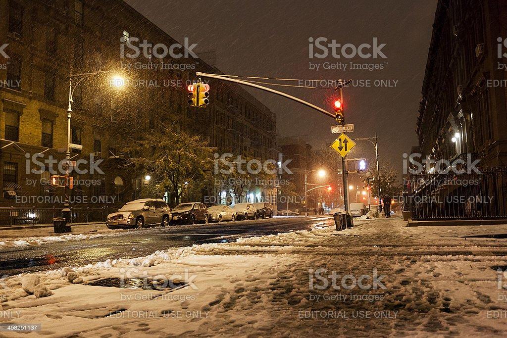 Snow at Manhattan Avenue New-York royalty-free stock photo