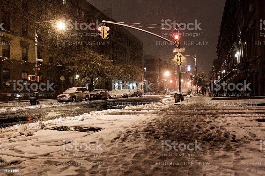 Snow at Manhattan Avenue New-York stock photo