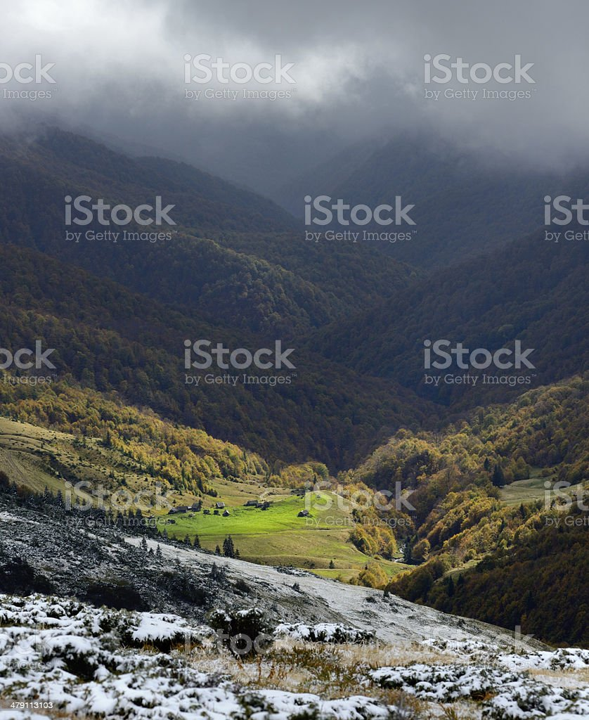 Snow autumn landscape in the mountains stock photo