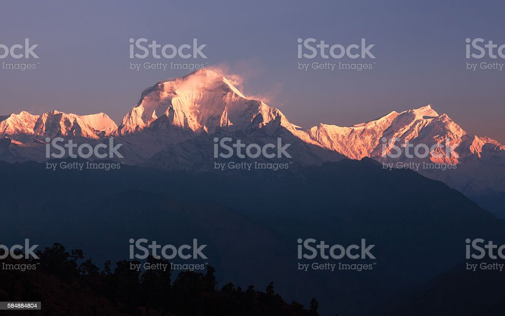 Snow Avalanche Dhaulagiri Peak Sunrise stock photo