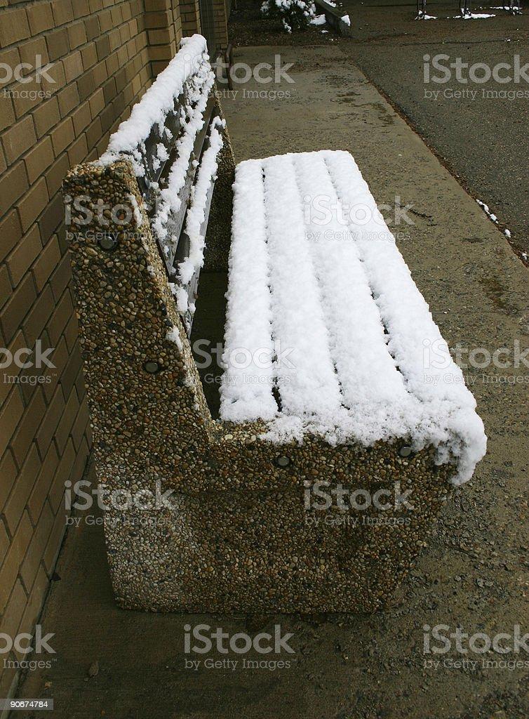 Snow Bench stock photo