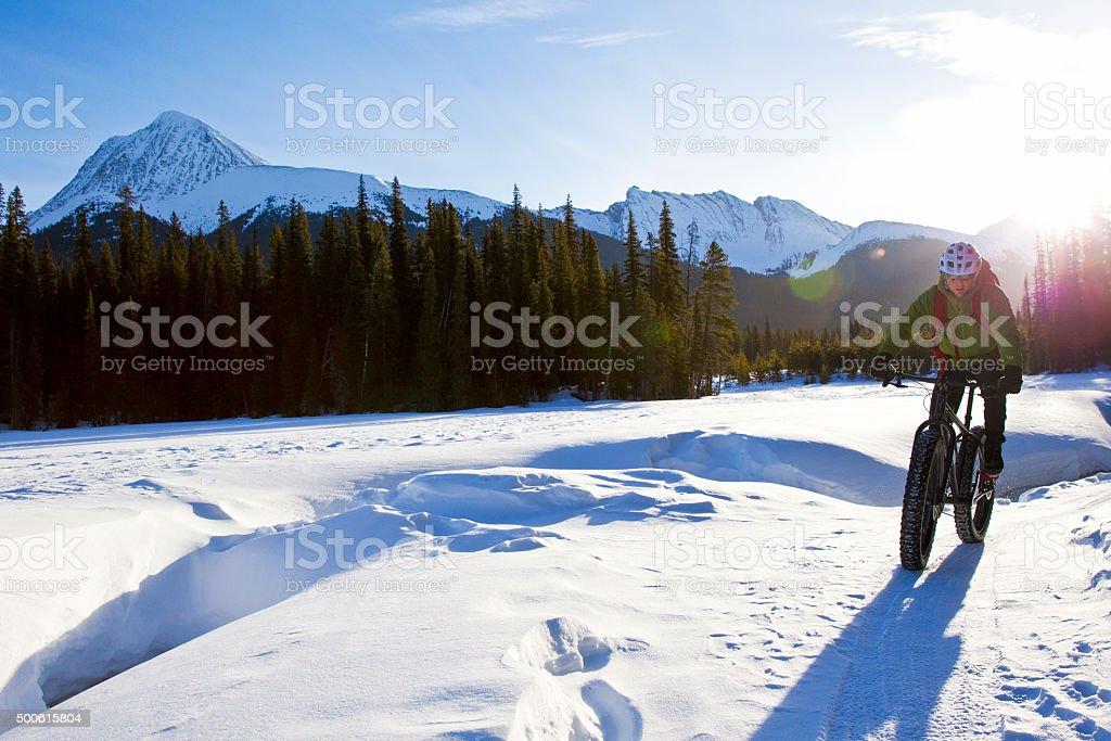 Snow Bike Rider stock photo