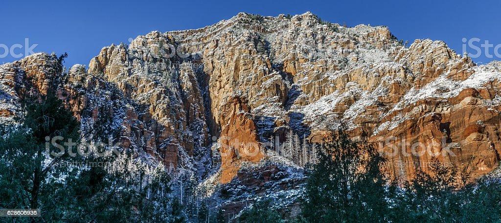 Snow Blankets the Mountain Tops of Sedona Arizona stock photo