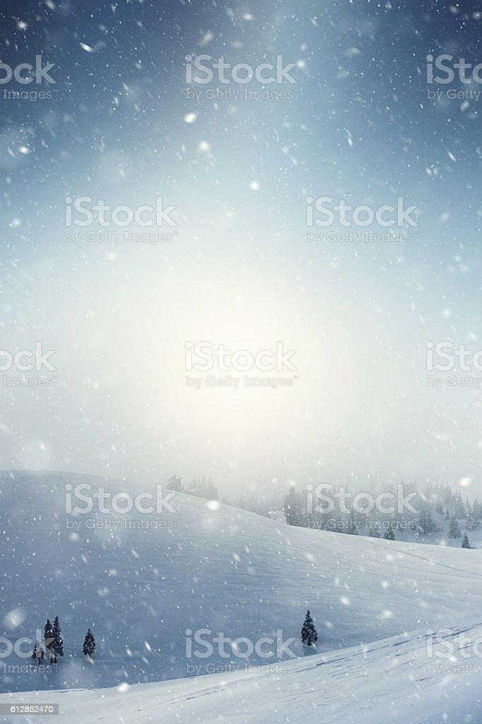 Snow blizzard in the mountains stock photo