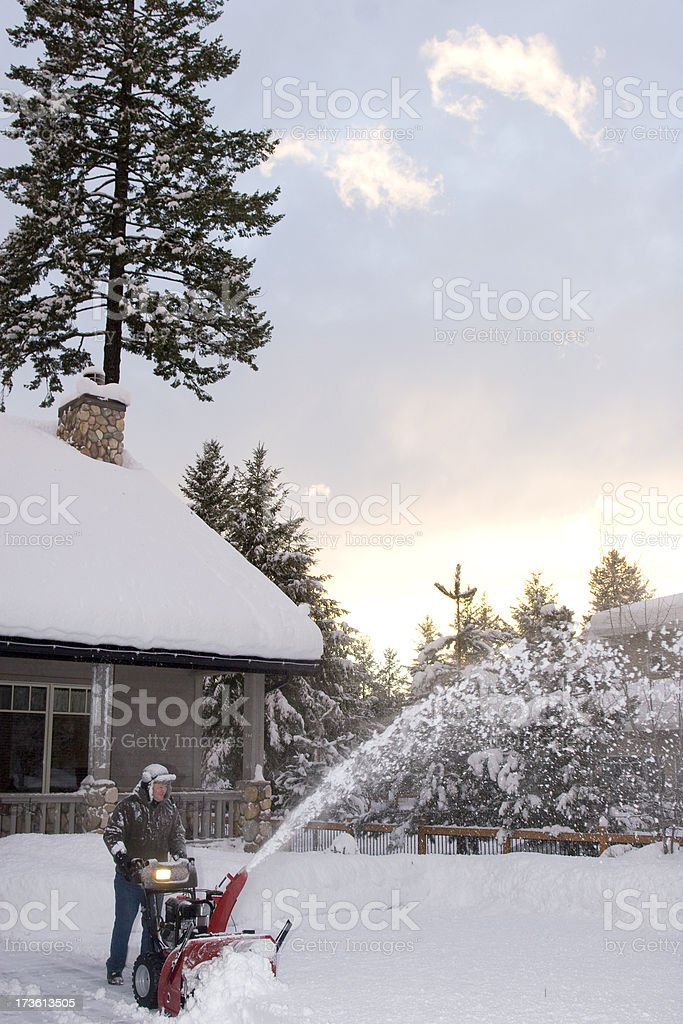 Snow Blowing Driveway stock photo