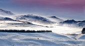 Snow blowing in winter landscape