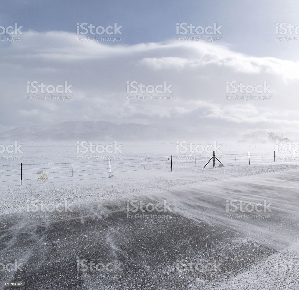 Snow Blowing on Road royalty-free stock photo