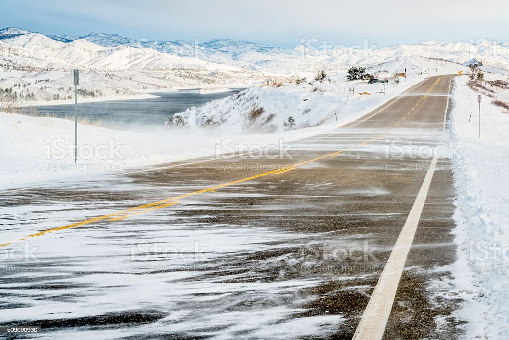 snow blowing wind in Colorado stock photo