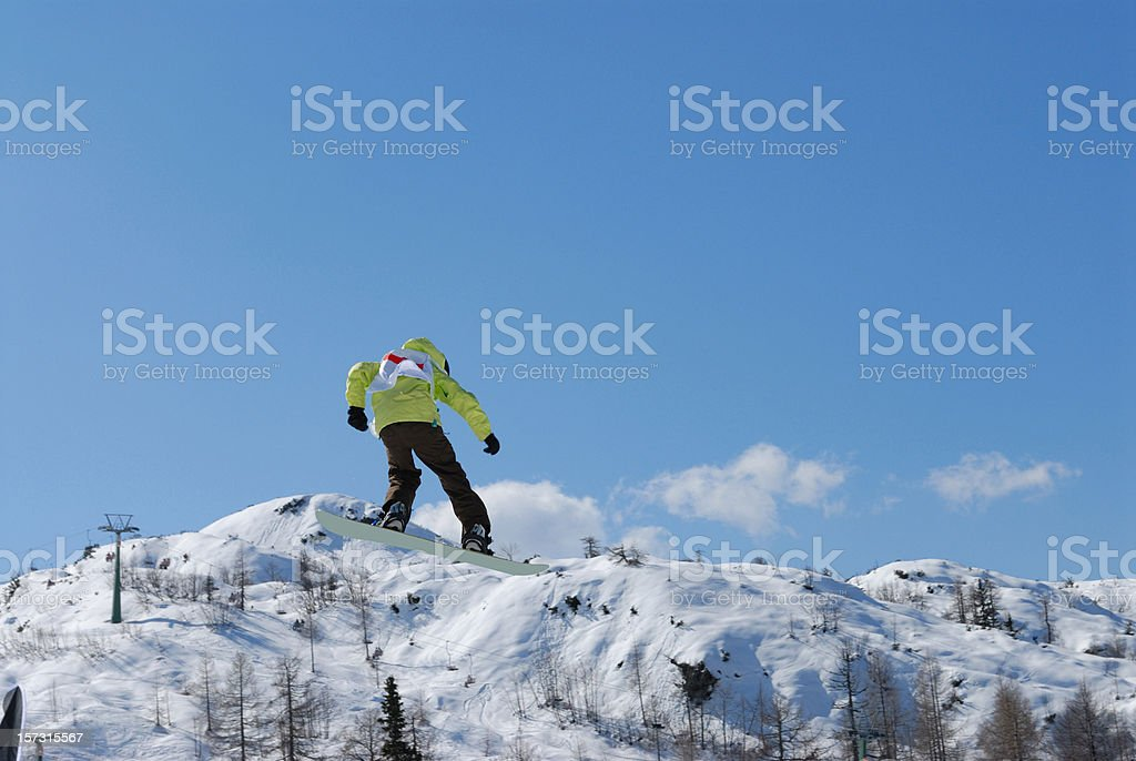 Snow boarder in action stock photo