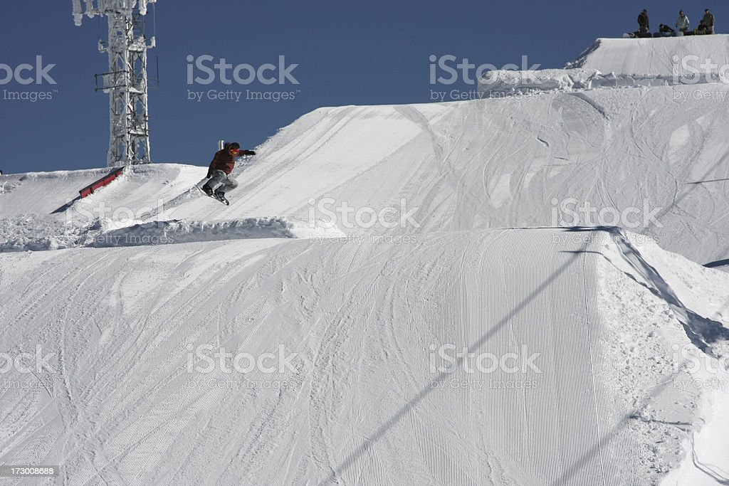 Snow boarders jump stock photo