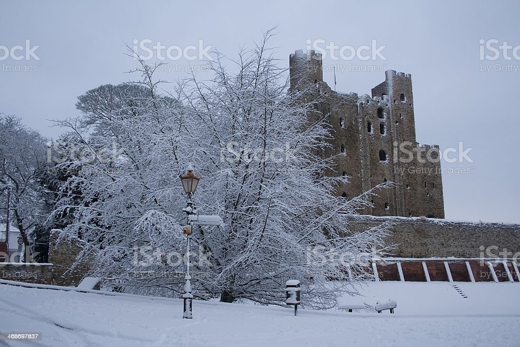 Snow bound Rochester Castle in Kent England royalty-free stock photo