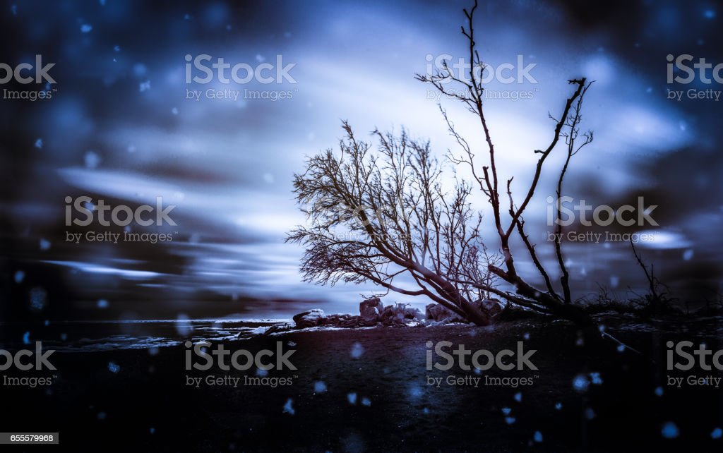 Snow by Lake Erie stock photo