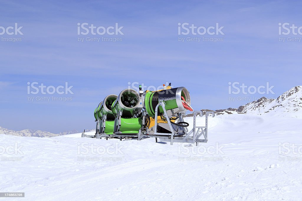Snow cannons at the ski resort royalty-free stock photo