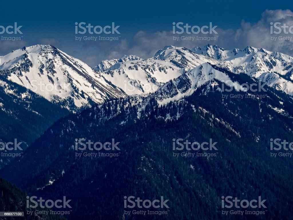 Snow Cap Olympic Mountains stock photo
