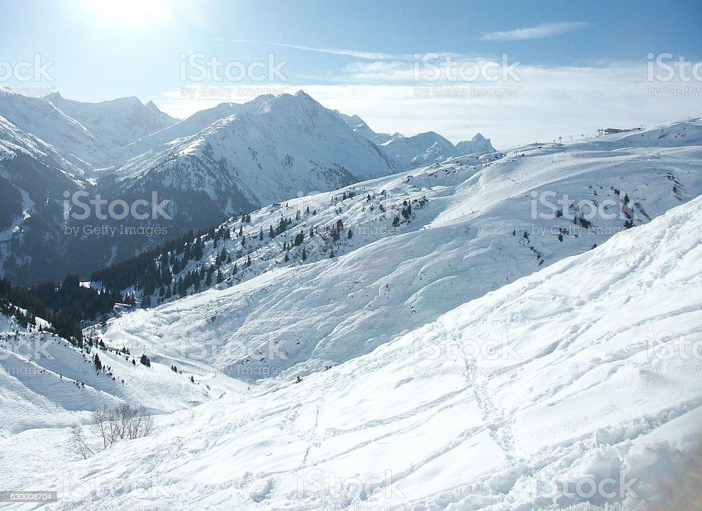 Snow capped Alps stock photo