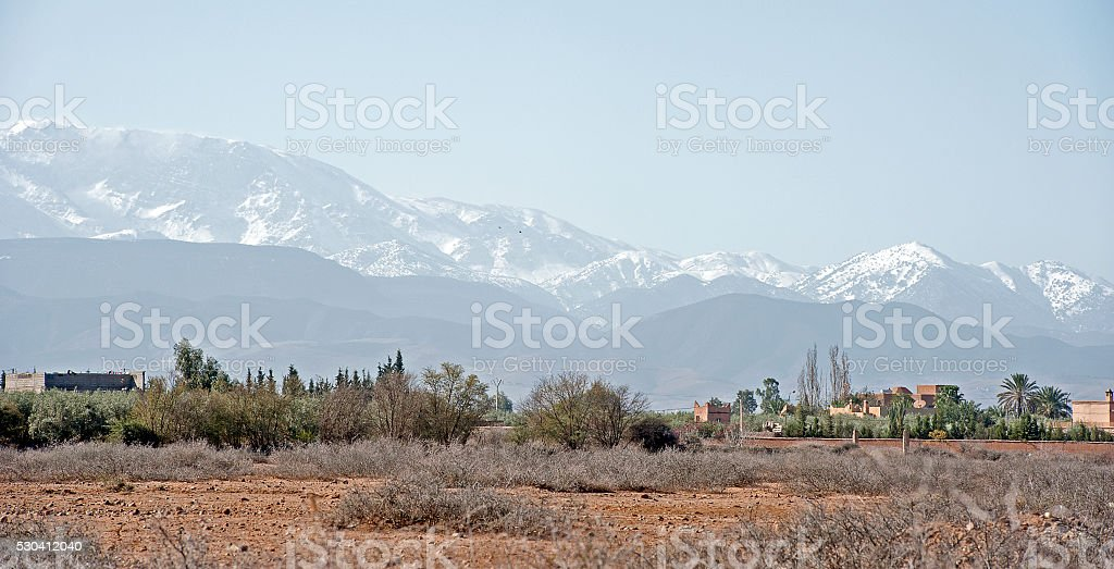 Snow capped Atlas Mountains, Marrakech, Morocco stock photo